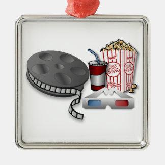 3D Cinema Silver-Colored Square Ornament