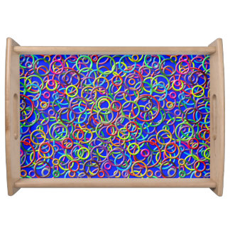 3D Circles on Blue Background Serving Tray