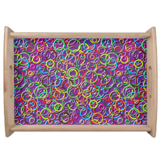 3D Circles on Purple Background Serving Tray