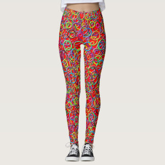3D Circles on Red Background Leggings