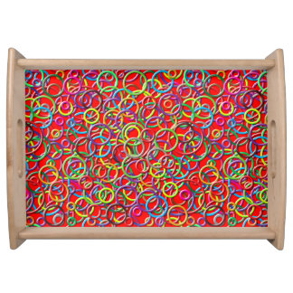 3D Circles on Red Background Serving Tray
