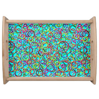 3D Circles on Turquoise Background Serving Tray