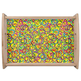 3D Circles on Yellow Background Serving Tray