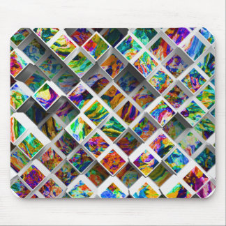 3D Colorful Medium Cubes. Abstract Multi Colors Mouse Pad