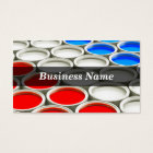 3D Coloured Paint Cans (Red White & Blue) Business Card