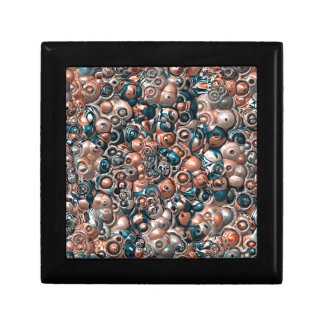 3D Copper And Blue Abstract Gift Box