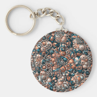 3D Copper And Blue Abstract Keychain