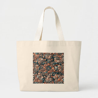 3D Copper And Blue Abstract Large Tote Bag