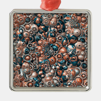3D Copper And Blue Abstract Metal Ornament