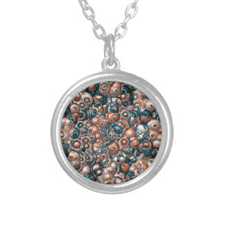 3D Copper And Blue Abstract Silver Plated Necklace