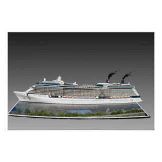 3D cruise ship poster
