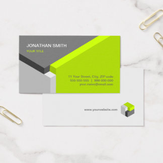 3D Cube Design Lime / Grey business card