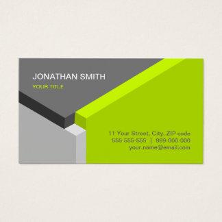 3D Cube Design Lime / Grey business card