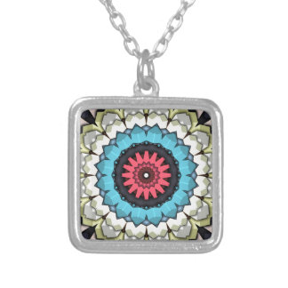 3D Cubes Mandala Silver Plated Necklace