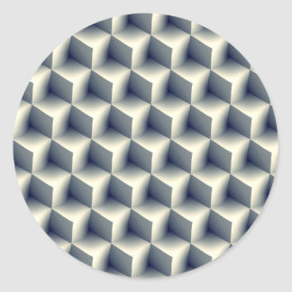 3D Cubes Pattern Classic Round Sticker