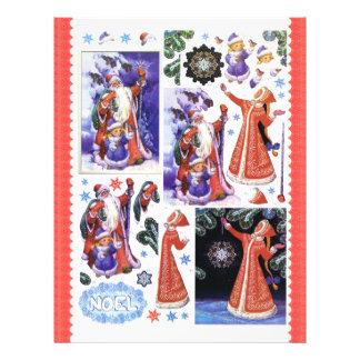 3D Decoupage - Christmas, Santa, Snow Maiden Letterhead
