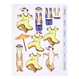 3D Decoupage - Meerkat dancing and country Letterhead Template
