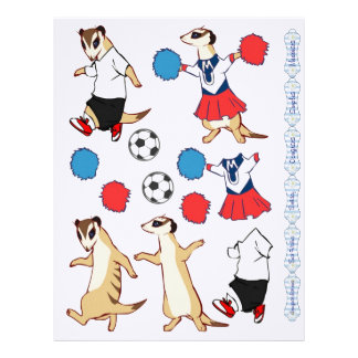3D Decoupage - Meerkat football and cheerleader Custom Letterhead