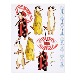 3D Decoupage - Meerkat Oriental Japanese & Indian Custom Letterhead