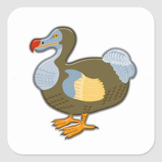 3D Dodo Bird Square Sticker