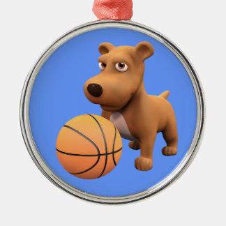 3d Dog Basketball Player (editable) Metal Ornament