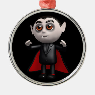 3d Dracula Stands! Silver-Colored Round Ornament