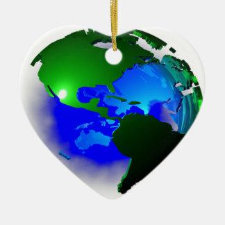 3d earth ceramic heart ornament