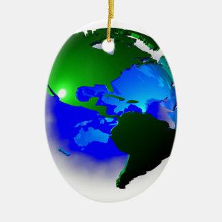3d earth ceramic oval ornament
