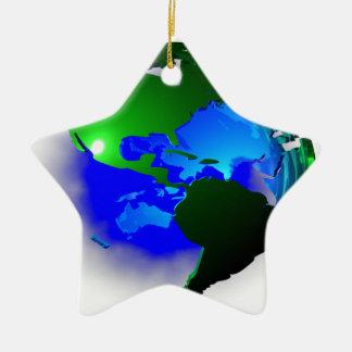 3d earth ceramic star ornament