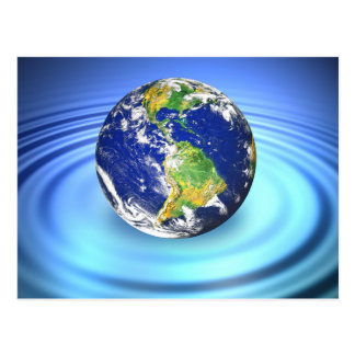 3D Earth Floating on Water Ripples Postcard