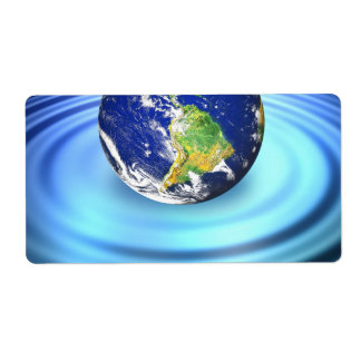 3D Earth Floating on Water Ripples Shipping Label