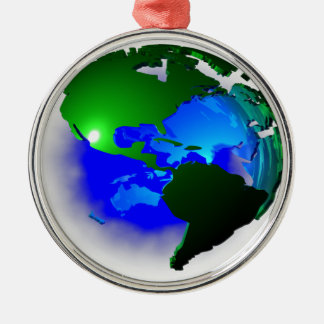 3d earth Silver-Colored round ornament