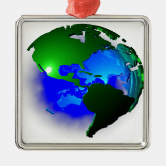 3d earth Silver-Colored square ornament
