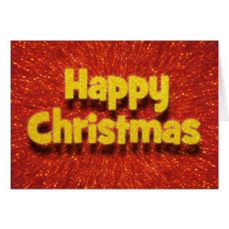 3D Effect Happy Christmas Red/Gold Sparkle Card