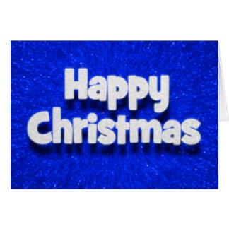 3D Effect Happy Christmas Silver/Blue Sparkle Card