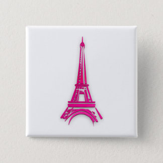 3d Eiffel tower, France clipart 2 Inch Square Button