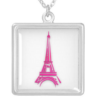 3d Eiffel tower, France clipart Silver Plated Necklace