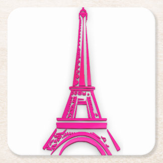 3d Eiffel tower, France clipart Square Paper Coaster