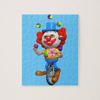 3d Funny Clown Juggles on Unicycle Jigsaw Puzzle