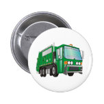 3d Garbage Truck Green Pinback Buttons