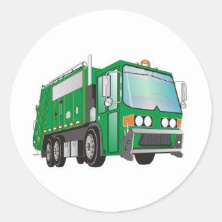 3d Garbage Truck Green Round Sticker