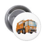 3d Garbage Truck Orange 2 Inch Round Button