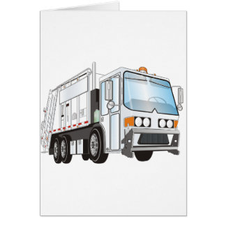 3d Garbage Truck White Card