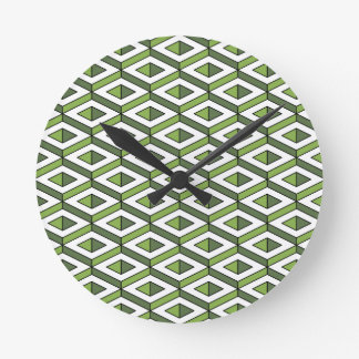 3d geometry greenery and kale round clock