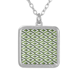 3d geometry greenery and kale silver plated necklace