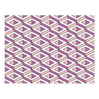 3d geometry rose quartz postcard