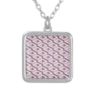 3d geometry rose quartz silver plated necklace