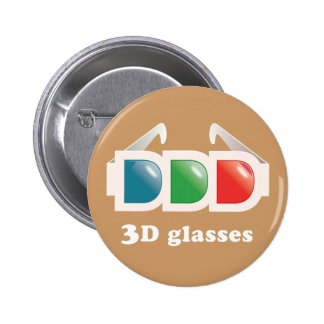 3D Glasses 2 Inch Round Button