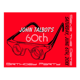 3D Glasses 60th Birthday Save the Date Postcard