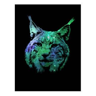 3D glowing Galaxy Lynx   mystical Wild Cat Postcard